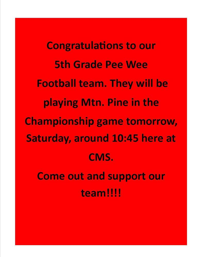 5th Grade Pee Wee Championship Game